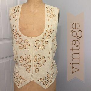 Vintage Ivory Pearl & Sequin Vest. Sz L. NWT!
